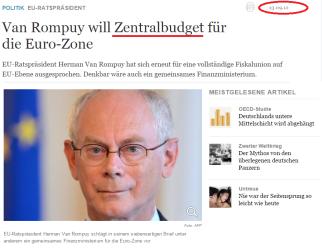 Van Rompuy will Zentralbudget für die Euro-Zone